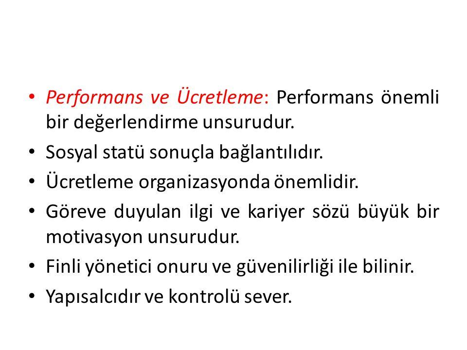 • Performans ve Ücretleme: Performans önemli bir değerlendirme unsurudur.