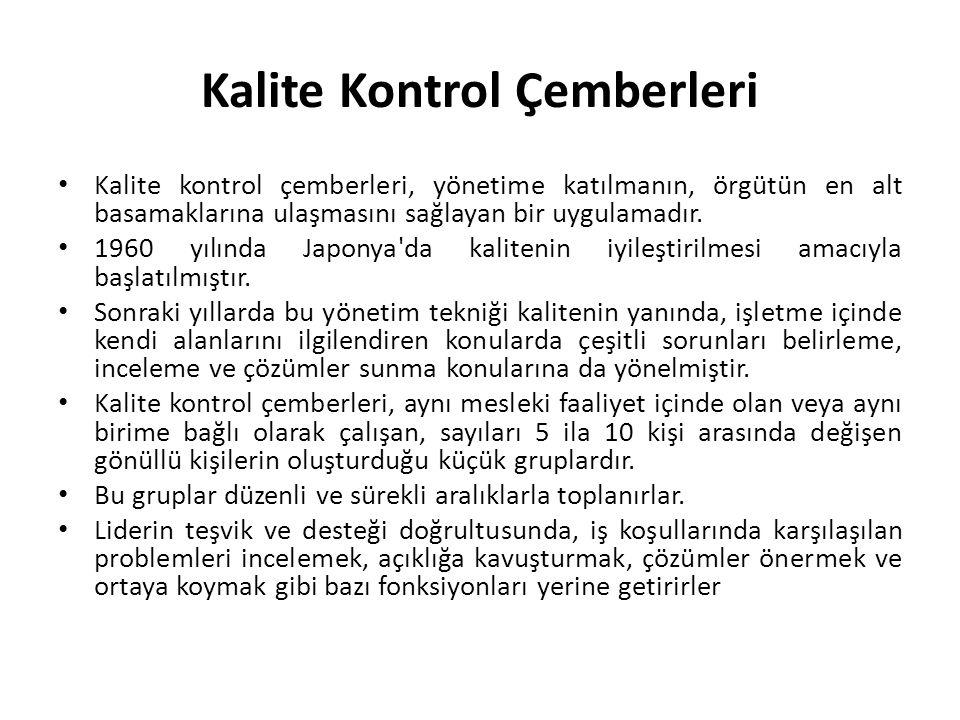 Kalite Kontrol Çemberleri • Kalite kontrol çemberleri, yönetime katılmanın, örgütün en alt basamaklarına ulaşmasını sağlayan bir uygulamadır.