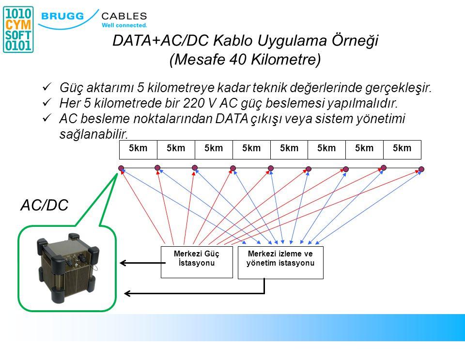 6 5km Merkezi izleme ve yönetim istasyonu Merkezi Güç İstasyonu DATA+AC/DC Kablo Uygulama Örneği (Mesafe 40 Kilometre)  Güç aktarımı 5 kilometreye ka