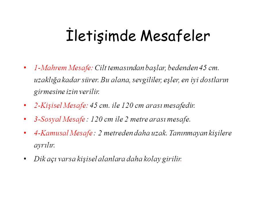 İletişimde Mesafeler • 1-Mahrem Mesafe: Cilt temasından başlar, bedenden 45 cm. uzaklığa kadar sürer. Bu alana, sevgililer, eşler, en iyi dostların gi