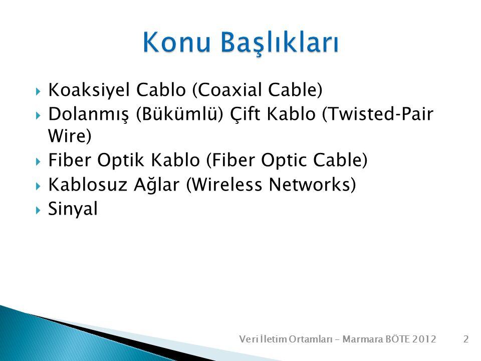  Koaksiyel Cablo (Coaxial Cable)  Dolanmış (Bükümlü) Çift Kablo (Twisted‐Pair Wire)  Fiber Optik Kablo (Fiber Optic Cable)  Kablosuz Ağlar (Wirele