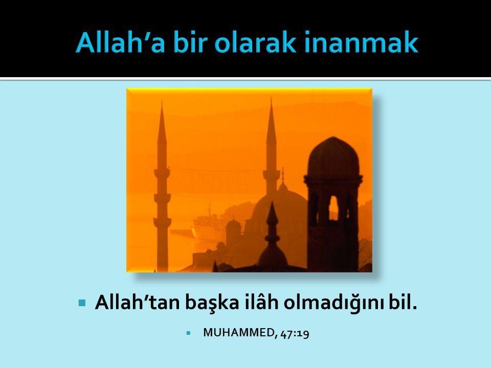 Allah'tan başka ilâh olmadığını bil.  MUHAMMED, 47:19