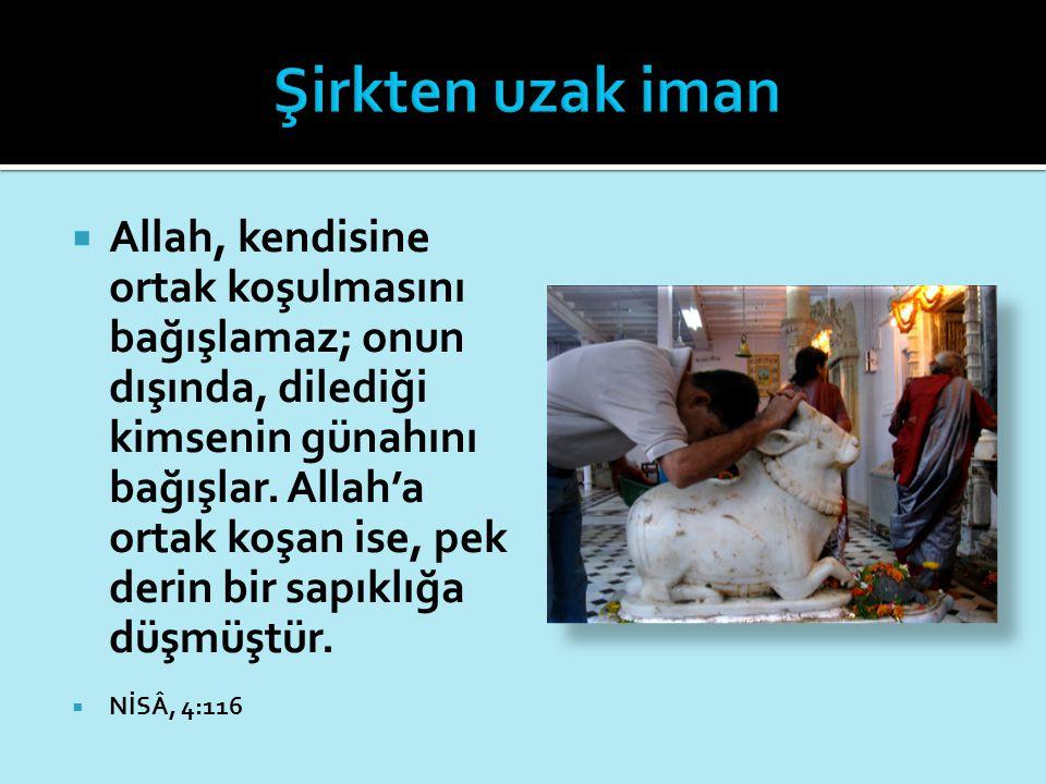  Allah, kendisine ortak koşulmasını bağışlamaz; onun dışında, dilediği kimsenin günahını bağışlar. Allah'a ortak koşan ise, pek derin bir sapıklığa d
