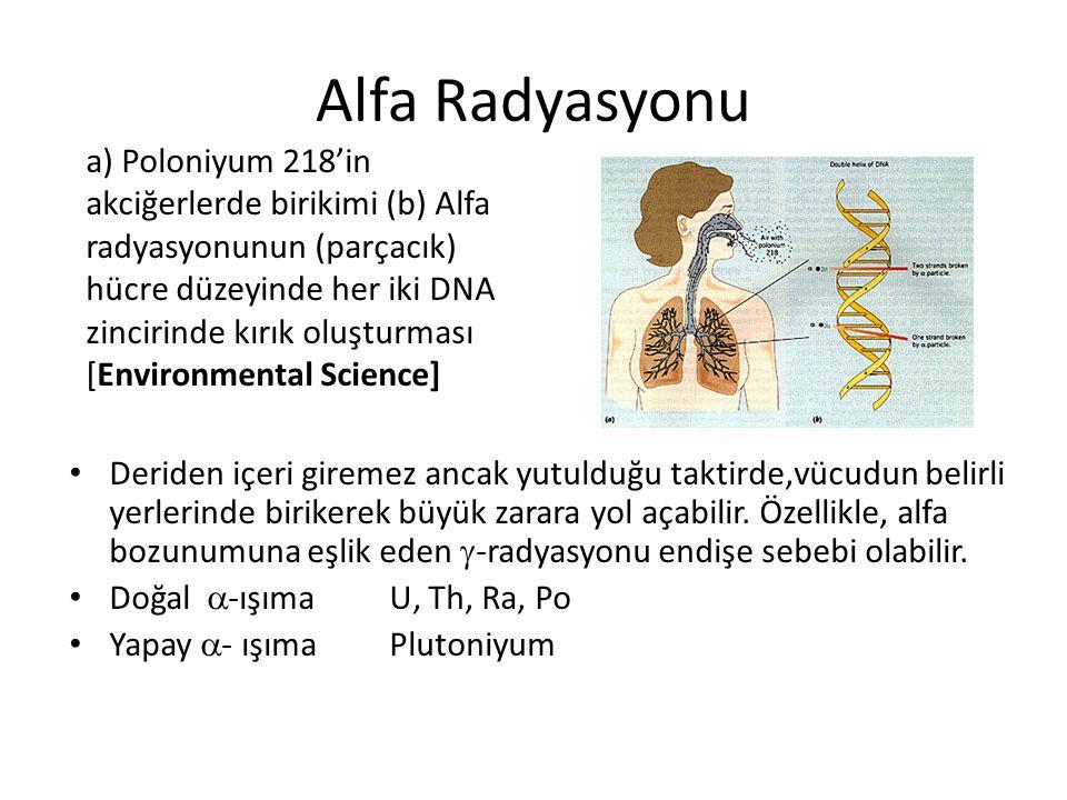 Alfa Radyasyonu • Deriden içeri giremez ancak yutulduğu taktirde,vücudun belirli yerlerinde birikerek büyük zarara yol açabilir.
