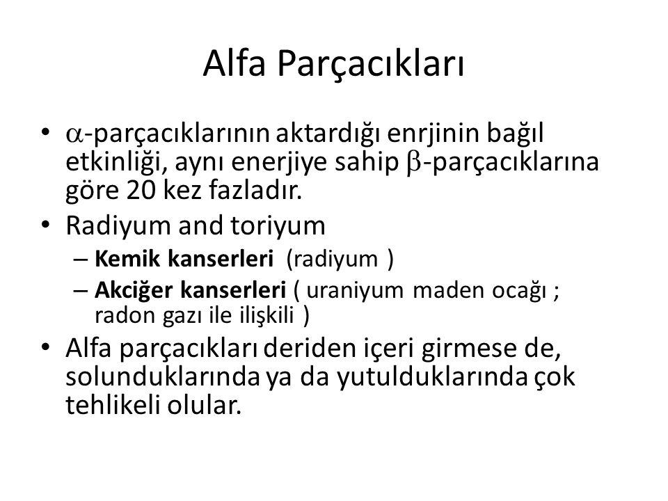 Alfa Parçacıkları •  -parçacıklarının aktardığı enrjinin bağıl etkinliği, aynı enerjiye sahip  -parçacıklarına göre 20 kez fazladır.