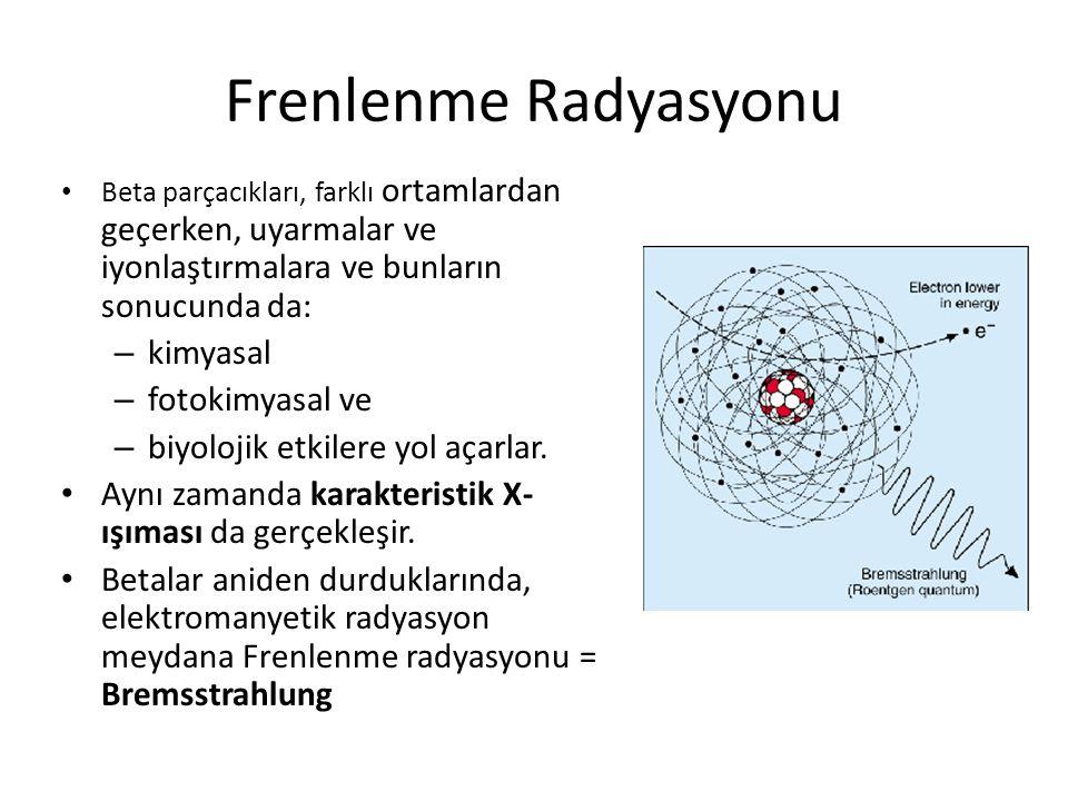 Frenlenme Radyasyonu • Beta parçacıkları, farklı ortamlardan geçerken, uyarmalar ve iyonlaştırmalara ve bunların sonucunda da: – kimyasal – fotokimyasal ve – biyolojik etkilere yol açarlar.