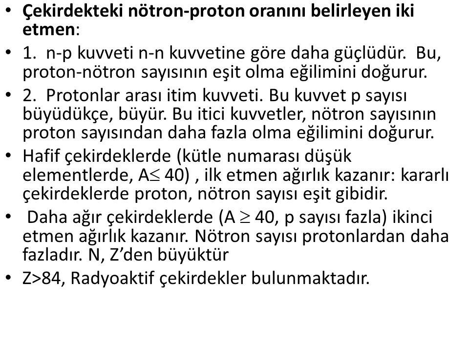 •β - bozunumu: Doğada ve yapay radyoaktivitede görülür.