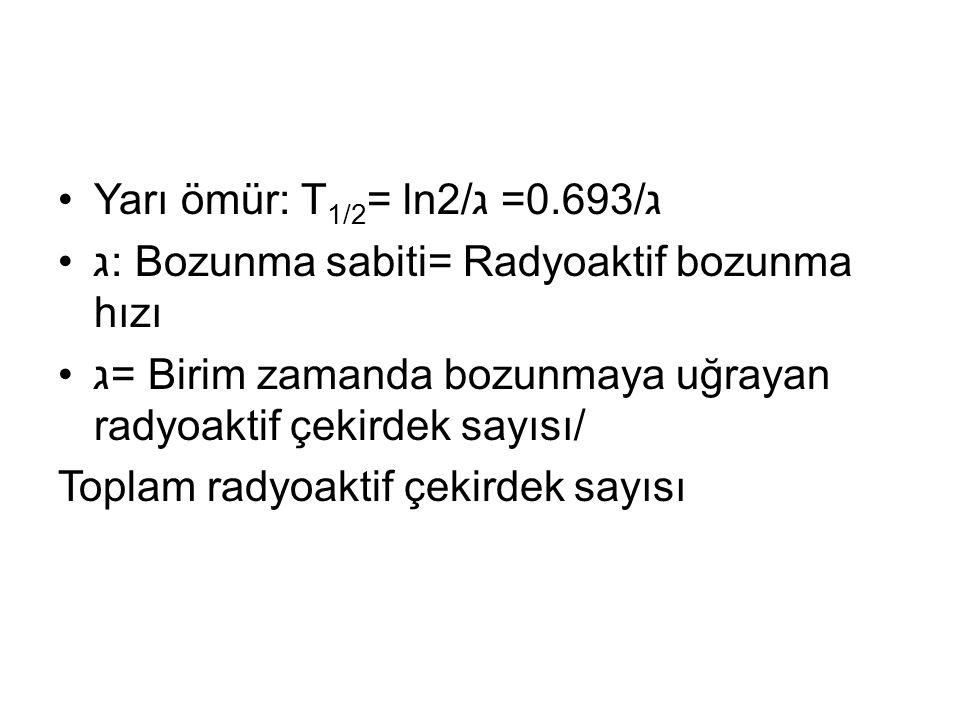 •Yarı ömür: T 1/2 = ln2/ג =0.693/ג •ג: Bozunma sabiti= Radyoaktif bozunma hızı •ג= Birim zamanda bozunmaya uğrayan radyoaktif çekirdek sayısı/ Toplam radyoaktif çekirdek sayısı