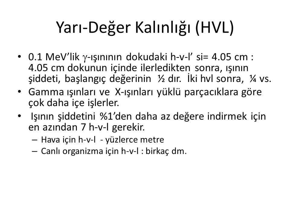 Yarı-Değer Kalınlığı (HVL) • 0.1 MeV'lik  -ışınının dokudaki h-v-l' si= 4.05 cm : 4.05 cm dokunun içinde ilerledikten sonra, ışının şiddeti, başlangıç değerinin ½ dır.