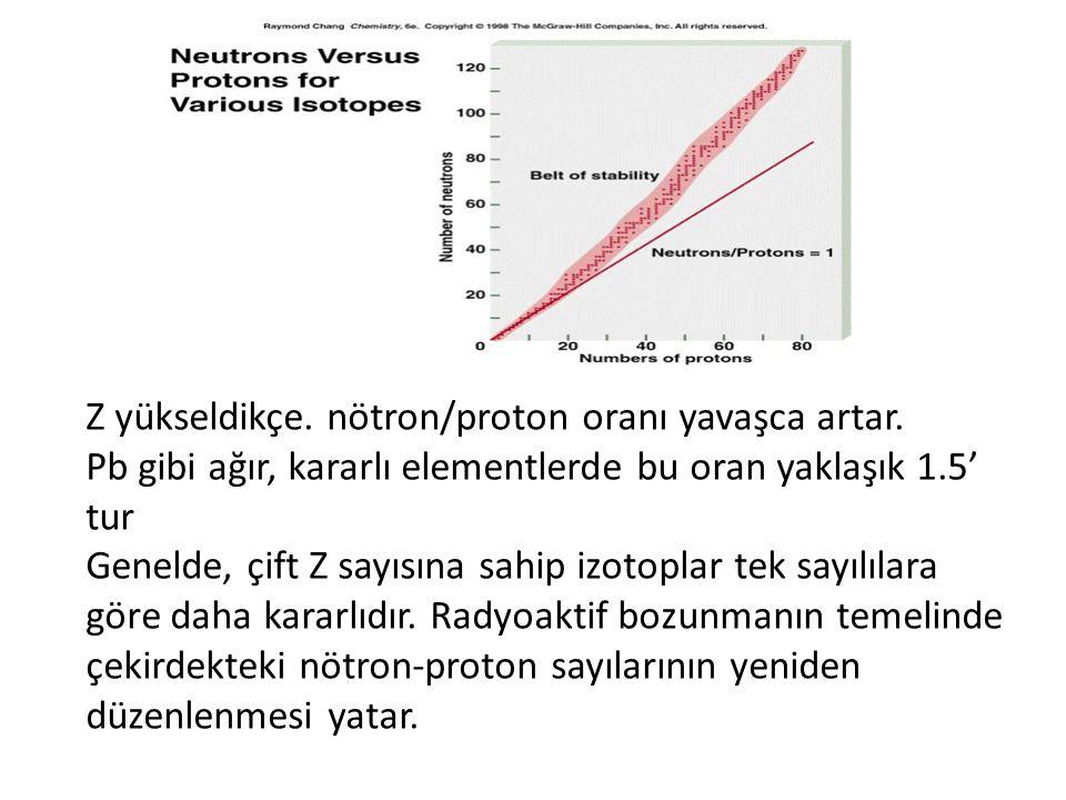 Kararlılık Çekirdekler, aşağıdaki yollardan biri ya da birkaçı ile kararlılığa ulaşırlar: • 1- Bir nötron'un proton'a dönüşmesi; n  p Çekirdekten bir NEGATRON (  -) salınır negatron: çekirdek kaynaklı bir elektron nötron - proton dönüşümü gerçekleşir ve p/n oranı artar.