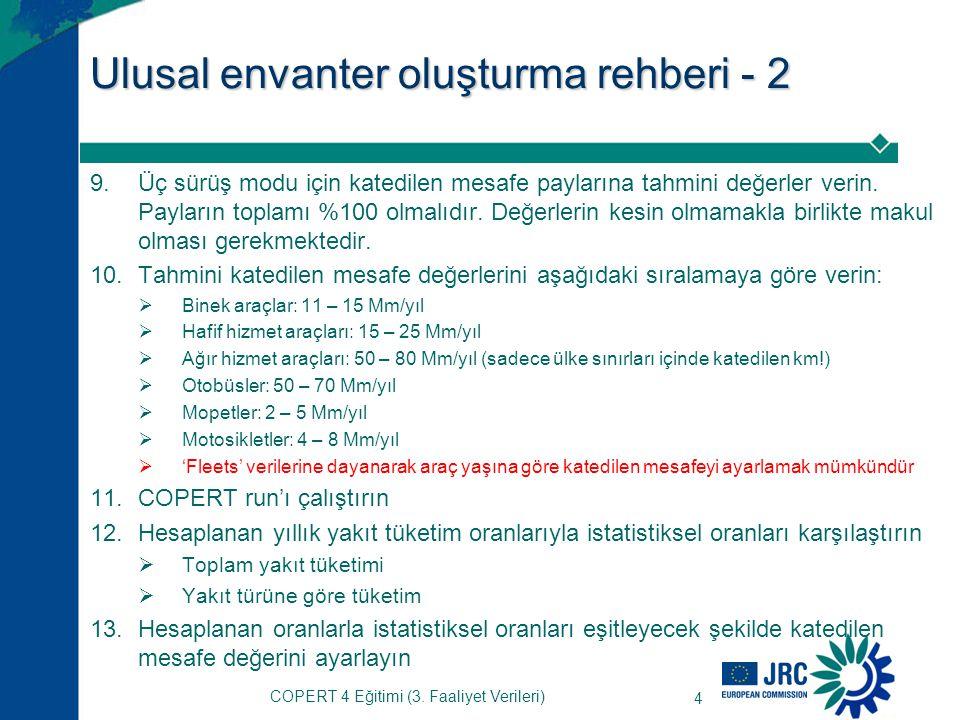 4 Ulusal envanter oluşturma rehberi - 2 9.Üç sürüş modu için katedilen mesafe paylarına tahmini değerler verin.
