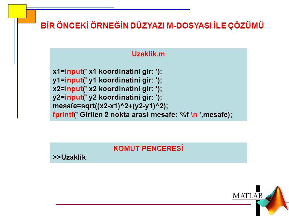 BİR ÖNCEKİ ÖRNEĞİN DÜZYAZI M-DOSYASI İLE ÇÖZÜMÜ Uzaklik.m x1=input( x1 koordinatini gir: ); y1=input( y1 koordinatini gir: ); x2=input( x2 koordinatini gir: ); y2=input( y2 koordinatini gir: ); mesafe=sqrt((x2-x1)^2+(y2-y1)^2); fprintf( Girilen 2 nokta arasi mesafe: %f \n ,mesafe); KOMUT PENCERESİ >>Uzaklik