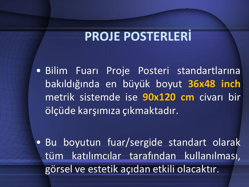 PROJE POSTERLERİ 36x48 inch 90x120 cm •Bilim Fuarı Proje Posteri standartlarına bakıldığında en büyük boyut 36x48 inch metrik sistemde ise 90x120 cm civarı bir ölçüde karşımıza çıkmaktadır.