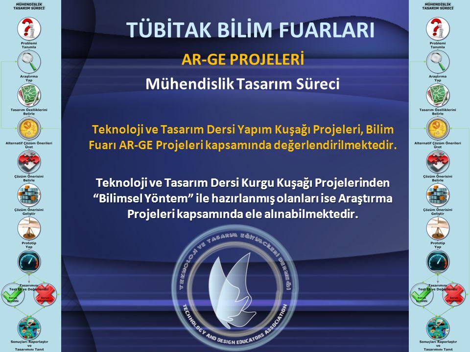 TÜBİTAK BİLİM FUARLARI AR-GE PROJELERİ Mühendislik Tasarım Süreci Teknoloji ve Tasarım Dersi Yapım Kuşağı Projeleri, Bilim Fuarı AR-GE Projeleri kapsa