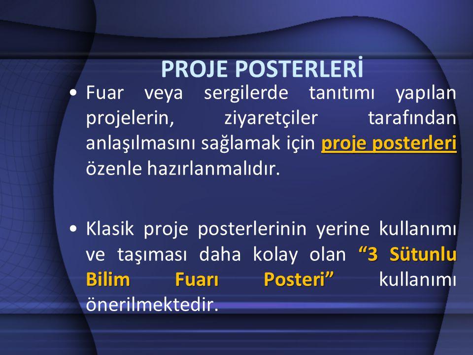 proje posterleri •Fuar veya sergilerde tanıtımı yapılan projelerin, ziyaretçiler tarafından anlaşılmasını sağlamak için proje posterleri özenle hazırl