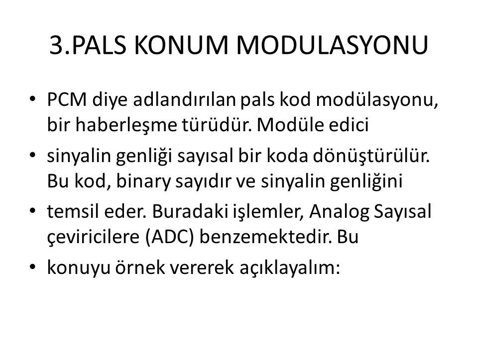 3.PALS KONUM MODULASYONU • PCM diye adlandırılan pals kod modülasyonu, bir haberleşme türüdür. Modüle edici • sinyalin genliği sayısal bir koda dönüşt