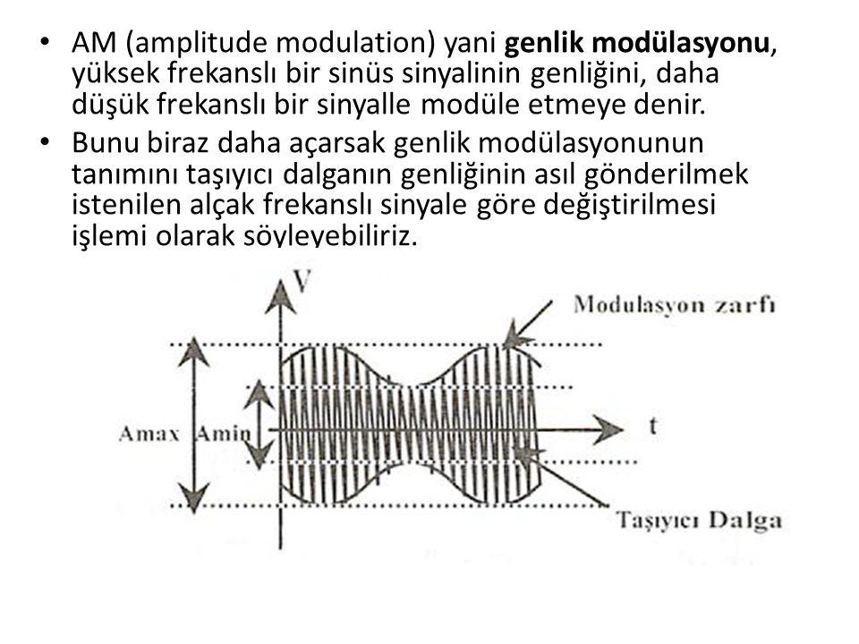 • AM (amplitude modulation) yani genlik modülasyonu, yüksek frekanslı bir sinüs sinyalinin genliğini, daha düşük frekanslı bir sinyalle modüle etmeye