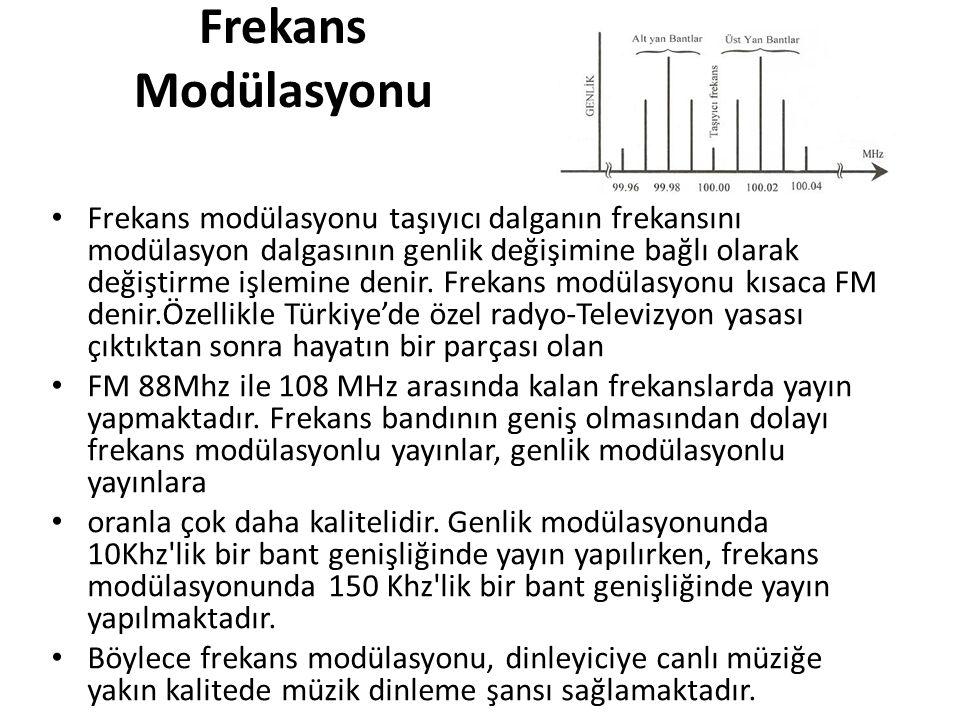 Frekans Modülasyonu • Frekans modülasyonu taşıyıcı dalganın frekansını modülasyon dalgasının genlik değişimine bağlı olarak değiştirme işlemine denir.