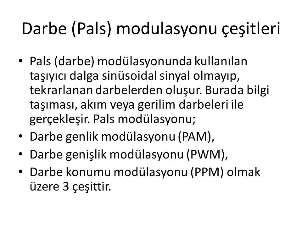 Darbe (Pals) modulasyonu çeşitleri • Pals (darbe) modülasyonunda kullanılan taşıyıcı dalga sinüsoidal sinyal olmayıp, tekrarlanan darbelerden oluşur.