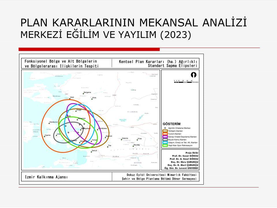 MEKANSAL GRUPLAMA ANALİZİ TÜM (48) DEĞİŞKENLER - MESAFE DUYARLI 2 Grup