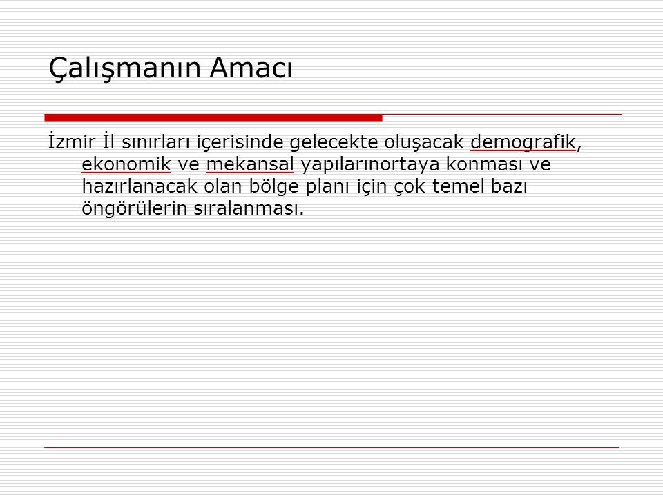 Çalışmanın Coğrafi Düzeyi İzmir İli bütünü, ilçe düzeyi.