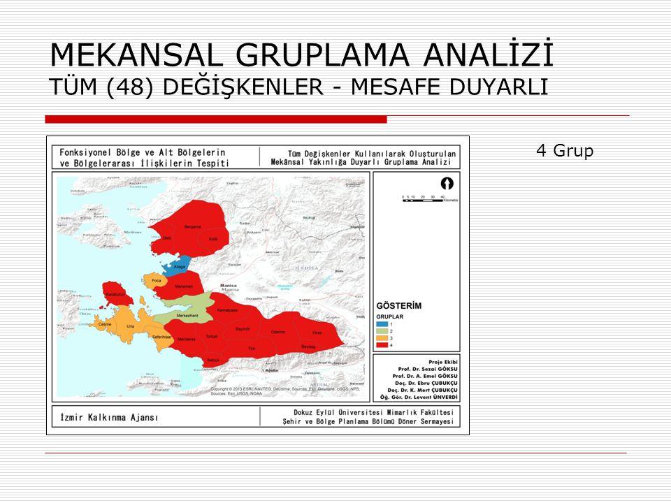 MEKANSAL GRUPLAMA ANALİZİ TÜM (48) DEĞİŞKENLER - MESAFE DUYARLI 5 Grup