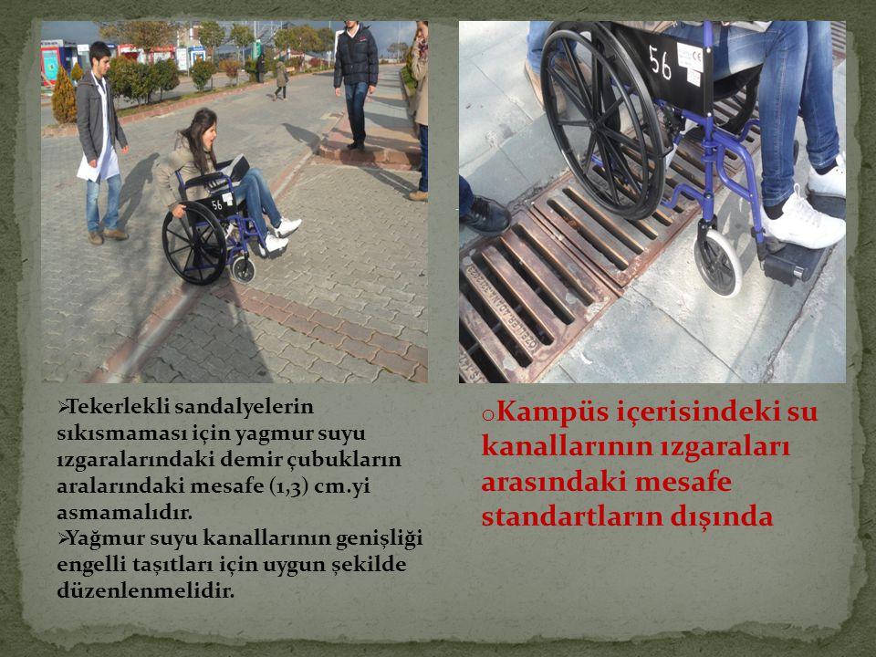  Tekerlekli sandalyelerin sıkısmaması için yagmur suyu ızgaralarındaki demir çubukların aralarındaki mesafe (1,3) cm.yi asmamalıdır.