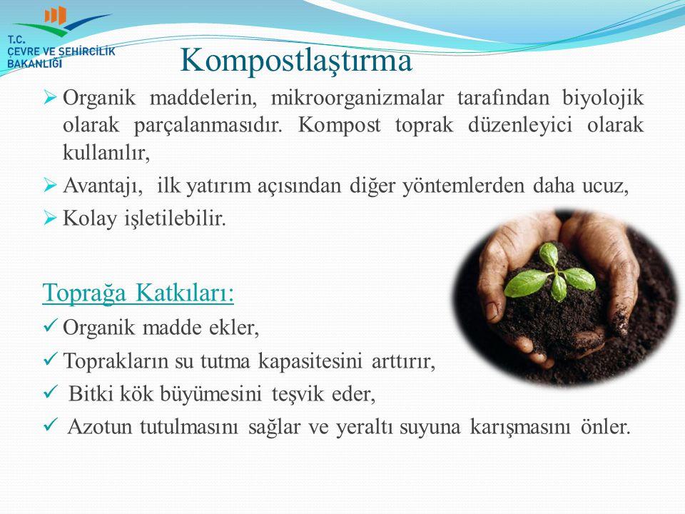 Kompostlaştırma  Organik maddelerin, mikroorganizmalar tarafından biyolojik olarak parçalanmasıdır. Kompost toprak düzenleyici olarak kullanılır,  A