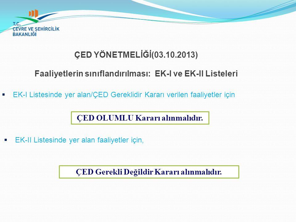 ÇED YÖNETMELİĞİ(03.10.2013) Faaliyetlerin sınıflandırılması: EK-I ve EK-II Listeleri  EK-I Listesinde yer alan/ÇED Gereklidir Kararı verilen faaliyet