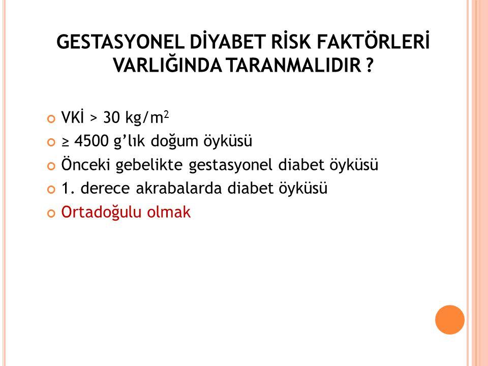 GESTASYONEL DİYABET RİSK FAKTÖRLERİ VARLIĞINDA TARANMALIDIR ? VKİ > 30 kg/m 2 ≥ 4500 g'lık doğum öyküsü Önceki gebelikte gestasyonel diabet öyküsü 1.