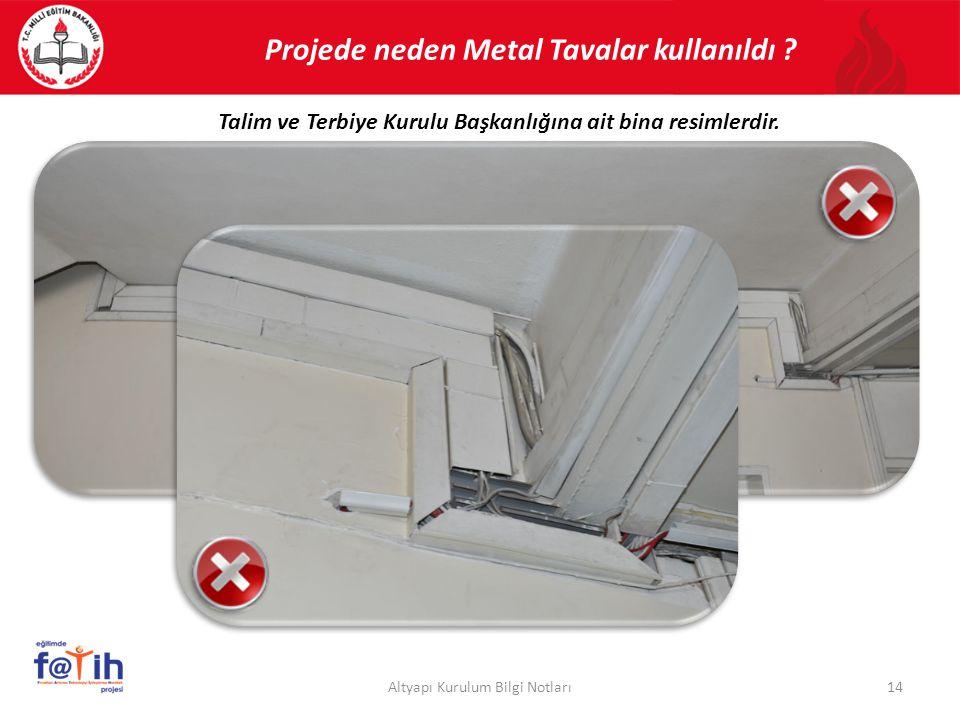 Projede neden Metal Tavalar kullanıldı ? 14Altyapı Kurulum Bilgi Notları Talim ve Terbiye Kurulu Başkanlığına ait bina resimlerdir.