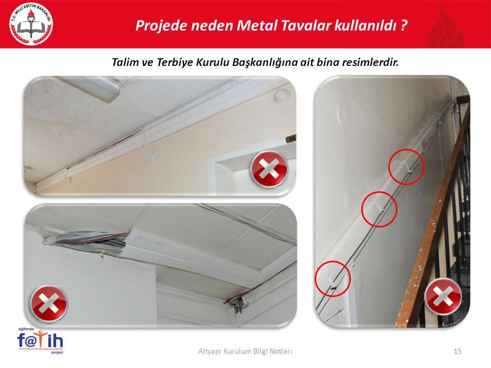 Projede neden Metal Tavalar kullanıldı ? 15Altyapı Kurulum Bilgi Notları Talim ve Terbiye Kurulu Başkanlığına ait bina resimlerdir.