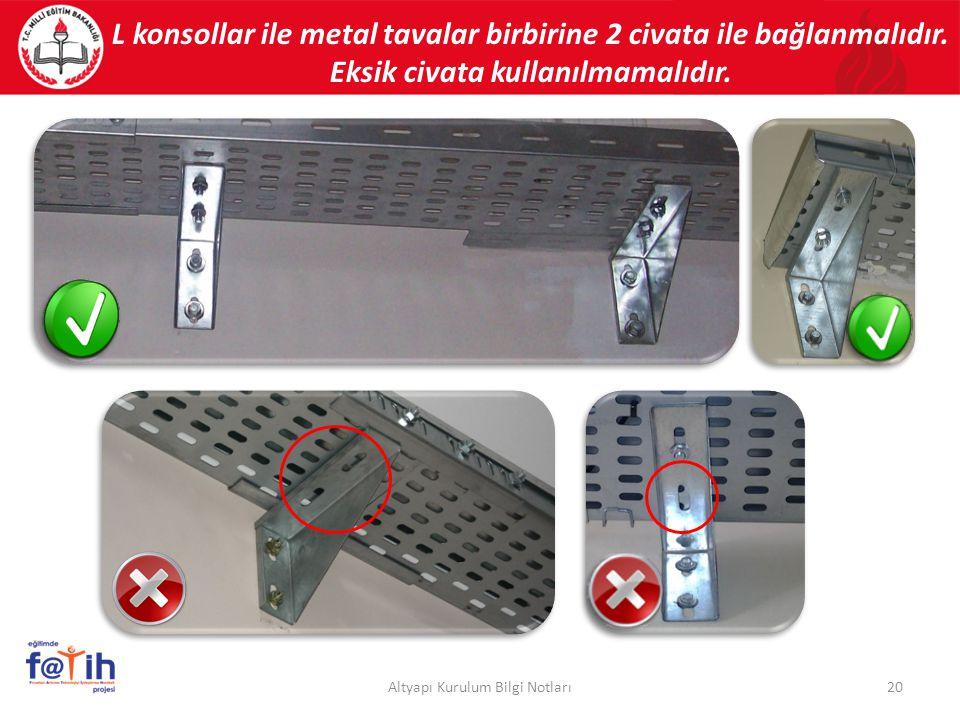 L konsollar ile metal tavalar birbirine 2 civata ile bağlanmalıdır. Eksik civata kullanılmamalıdır. 20Altyapı Kurulum Bilgi Notları