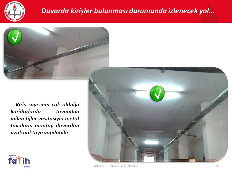31Altyapı Kurulum Bilgi Notları Duvarda kirişler bulunması durumunda izlenecek yol… Kiriş sayısının çok olduğu koridorlarda tavandan inilen tijler vas