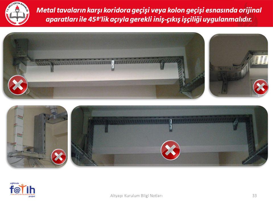 33Altyapı Kurulum Bilgi Notları Metal tavaların karşı koridora geçişi veya kolon geçişi esnasında orijinal aparatları ile 45º'lik açıyla gerekli iniş-