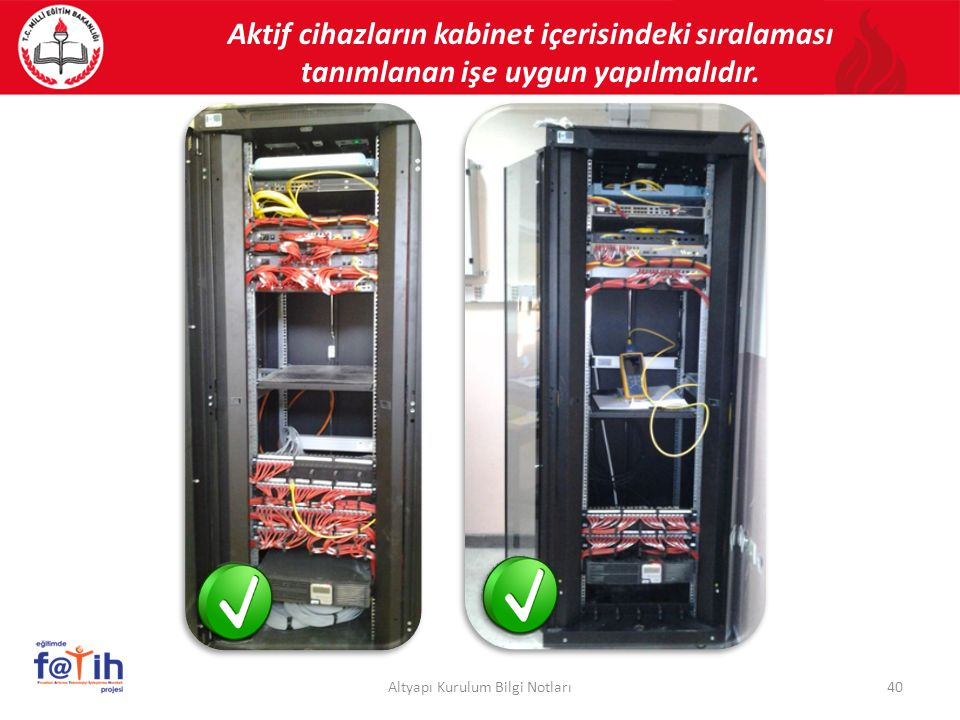 Aktif cihazların kabinet içerisindeki sıralaması tanımlanan işe uygun yapılmalıdır. 40Altyapı Kurulum Bilgi Notları
