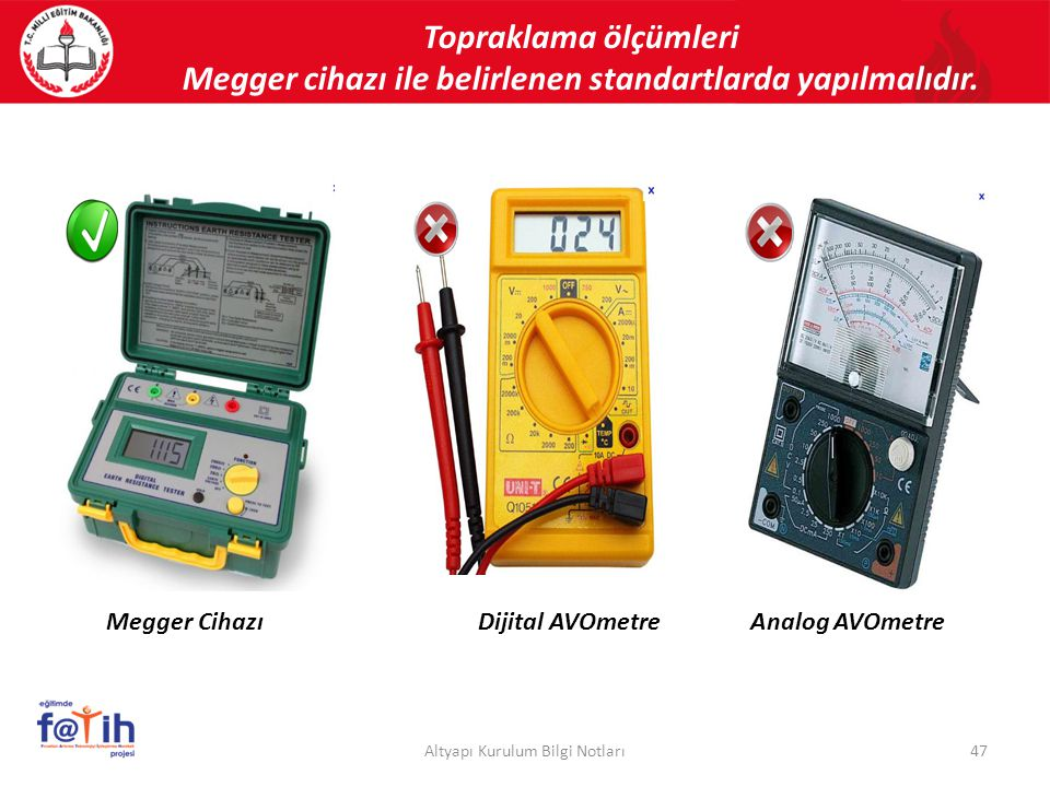 Topraklama ölçümleri Megger cihazı ile belirlenen standartlarda yapılmalıdır. 47Altyapı Kurulum Bilgi Notları Dijital AVOmetreAnalog AVOmetreMegger Ci