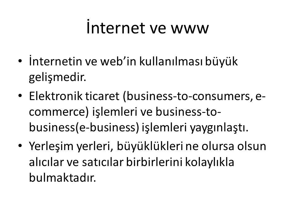 İnternet ve www • İnternetin ve web'in kullanılması büyük gelişmedir. • Elektronik ticaret (business-to-consumers, e- commerce) işlemleri ve business-