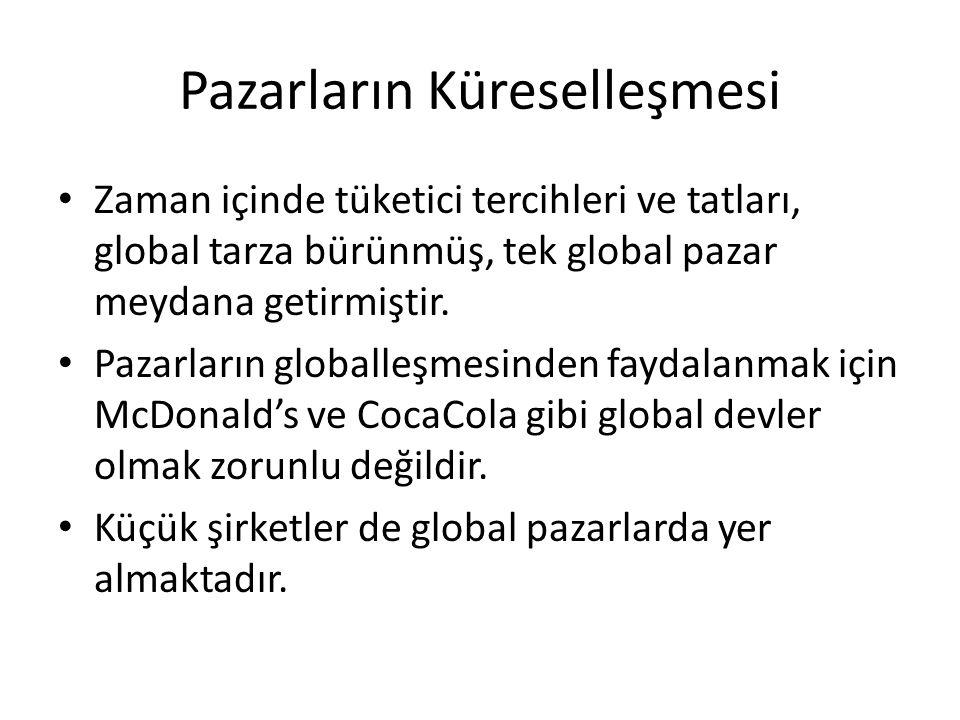 Pazarların Küreselleşmesi • Zaman içinde tüketici tercihleri ve tatları, global tarza bürünmüş, tek global pazar meydana getirmiştir. • Pazarların glo