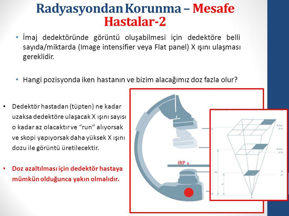 • İmaj dedektöründe görüntü oluşabilmesi için dedektöre belli sayıda/miktarda (Image intensifier veya Flat panel) X ışını ulaşması gereklidir.