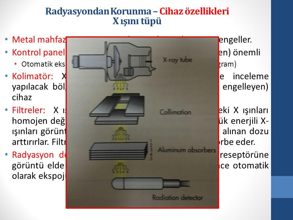 • Metal mahfaza: X ışını tüpünden saçılan radyasyonu engeller.