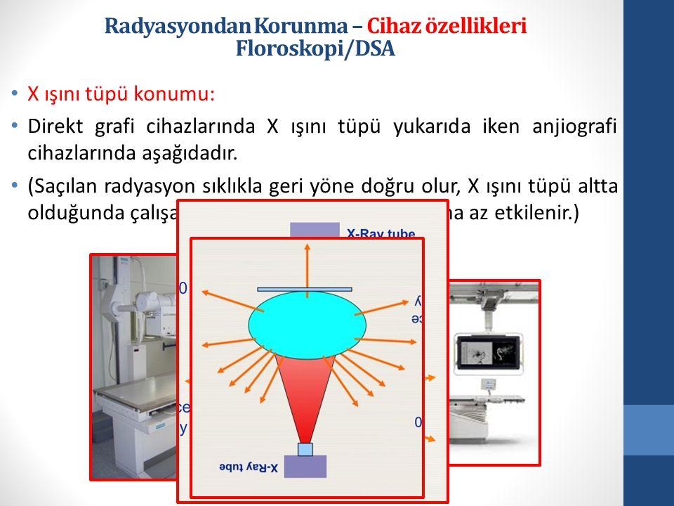 • X ışını tüpü konumu: • Direkt grafi cihazlarında X ışını tüpü yukarıda iken anjiografi cihazlarında aşağıdadır.