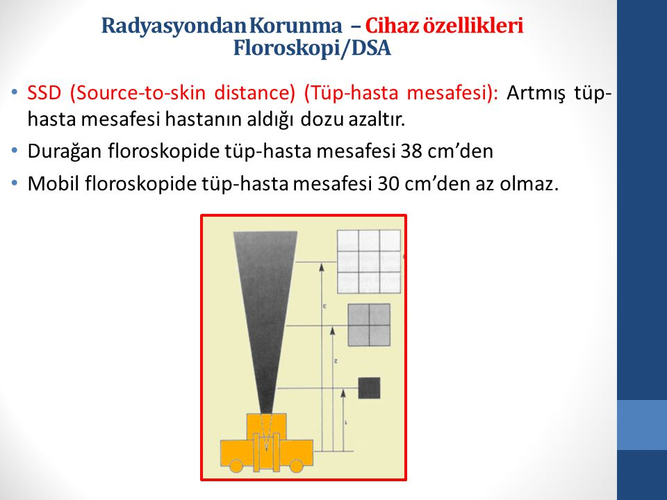 • SSD (Source-to-skin distance) (Tüp-hasta mesafesi): Artmış tüp- hasta mesafesi hastanın aldığı dozu azaltır.