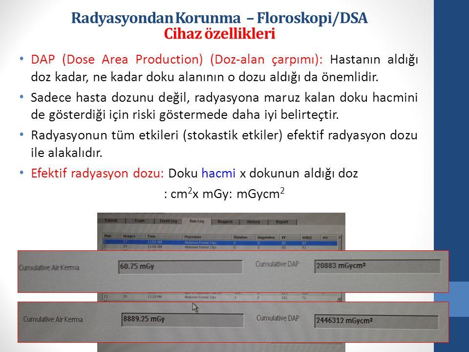 • DAP (Dose Area Production) (Doz-alan çarpımı): Hastanın aldığı doz kadar, ne kadar doku alanının o dozu aldığı da önemlidir.