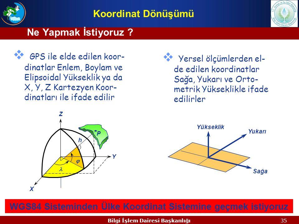 34Bilgi İşlem Dairesi Başkanlığı  Transformasyon, bir koordinat sistemindeki nokta koordinatlarının başka bir koordinat sisteminde ifade edilmesidir