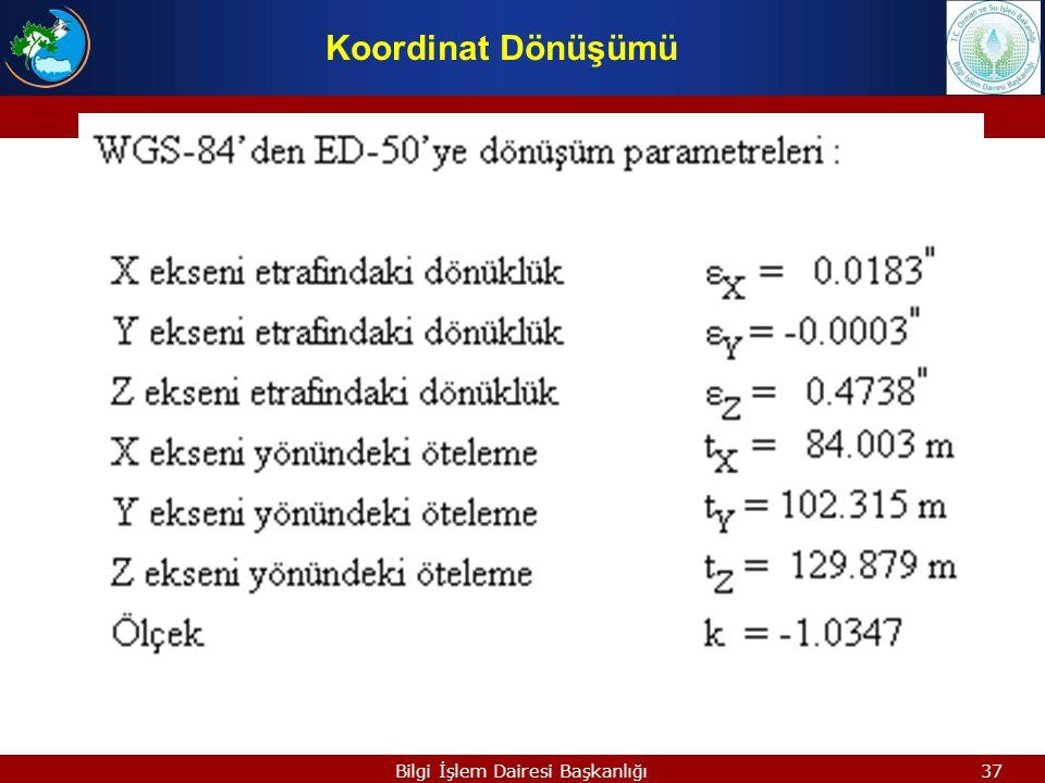 36Bilgi İşlem Dairesi Başkanlığı ZSZS ZLZL P X S =sR( wx, wy, wz)X L +X 0 XSXS YSYS XLXL YLYL wywy wxwx wzwz XSXS XOXO XLXL 3 Boyutlu, 7 Parametreli H