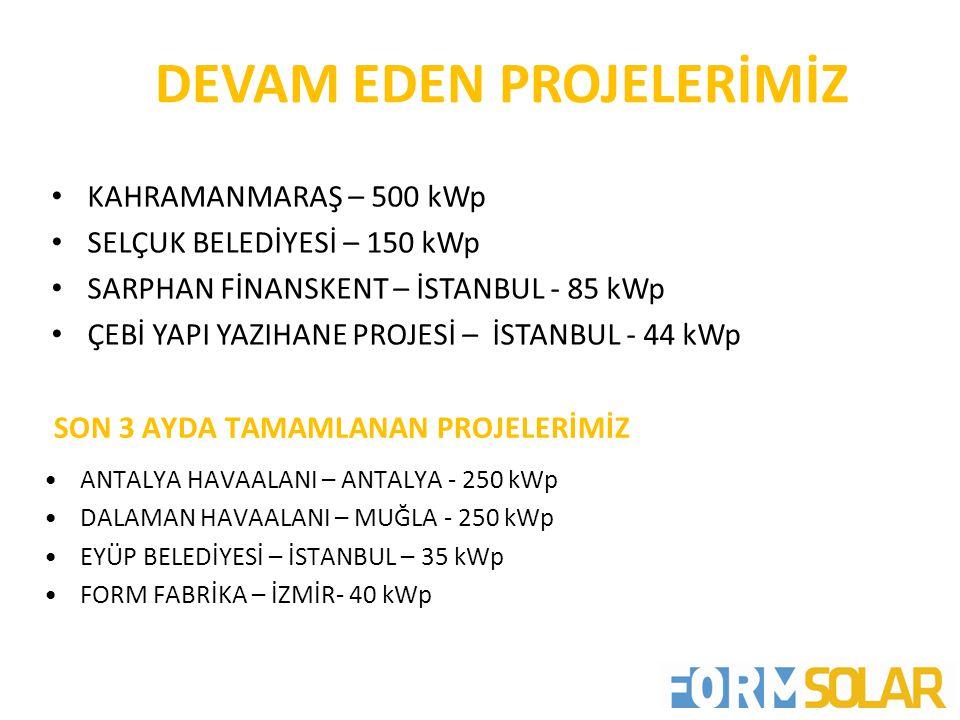 DEVAM EDEN PROJELERİMİZ • KAHRAMANMARAŞ – 500 kWp • SELÇUK BELEDİYESİ – 150 kWp • SARPHAN FİNANSKENT – İSTANBUL - 85 kWp • ÇEBİ YAPI YAZIHANE PROJESİ