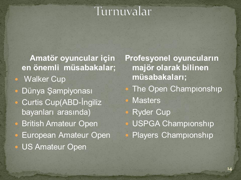 Amatör oyuncular için en önemli müsabakalar;  Walker Cup  Dünya Şampiyonası  Curtis Cup(ABD-İngiliz bayanları arasında)  British Amateur Open  Eu