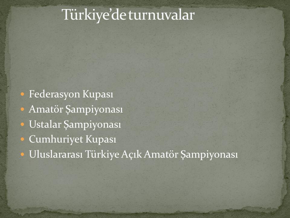  Federasyon Kupası  Amatör Şampiyonası  Ustalar Şampiyonası  Cumhuriyet Kupası  Uluslararası Türkiye Açık Amatör Şampiyonası