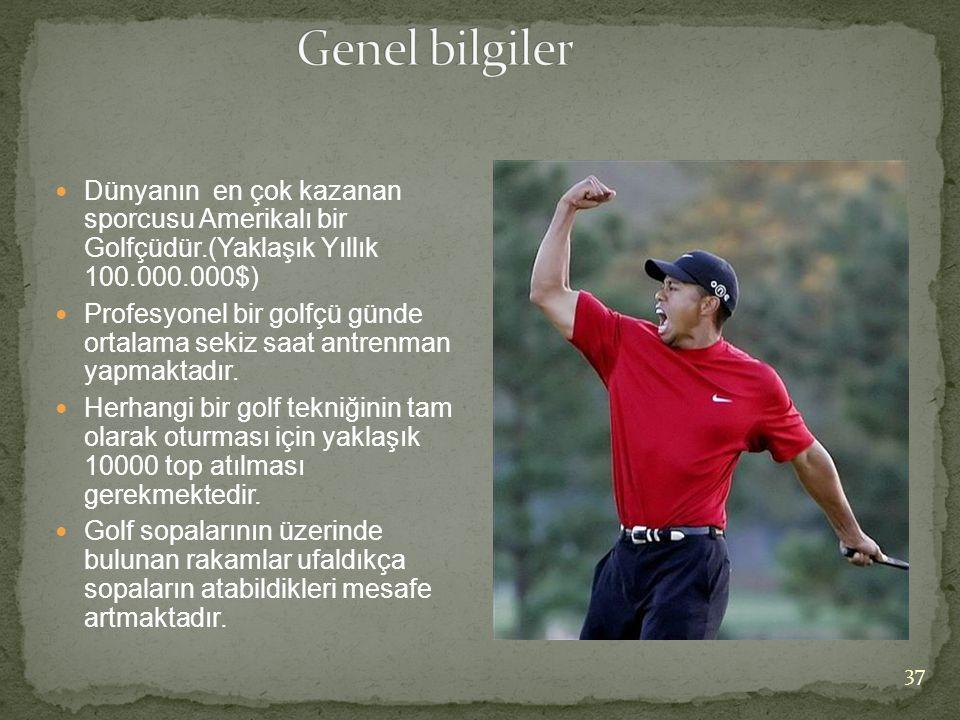  Dünyanın en çok kazanan sporcusu Amerikalı bir Golfçüdür.(Yaklaşık Yıllık 100.000.000$)  Profesyonel bir golfçü günde ortalama sekiz saat antrenman